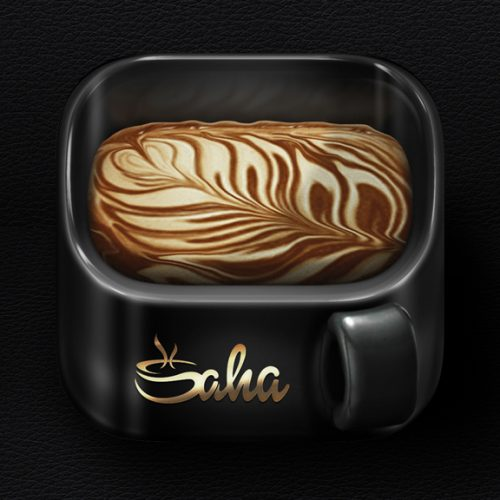 Coffee cup iOS icon for SAHA CAFE
