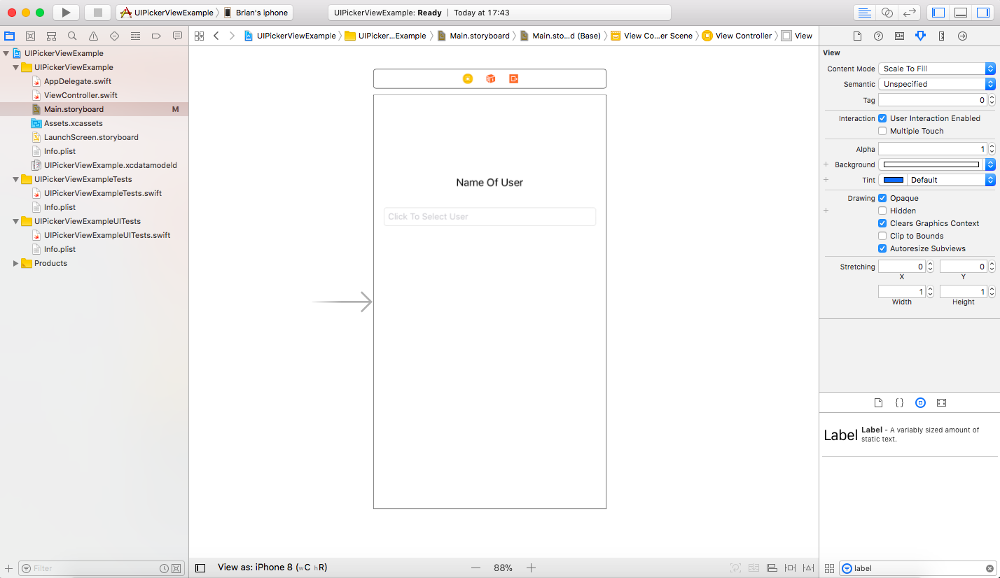 Single View Application - UIPickerView Tutorial